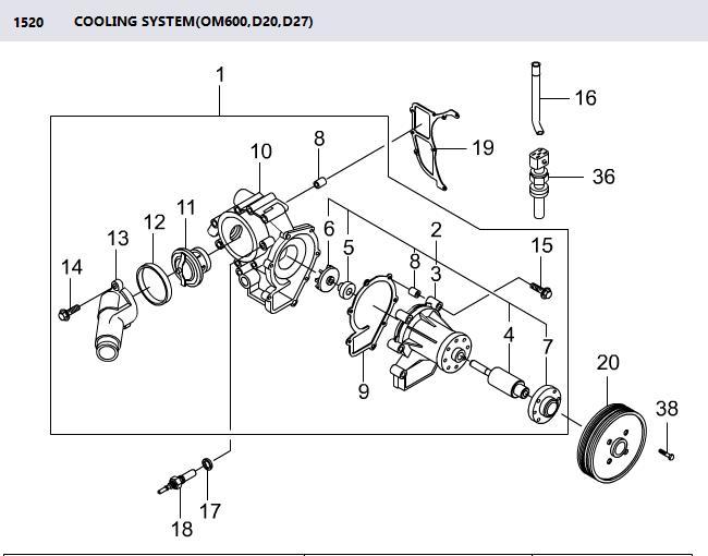 6652000520 Water Pump Rexton RX270 Rodius Stavic Sv270 Kyron D20 Actyon Sports D20