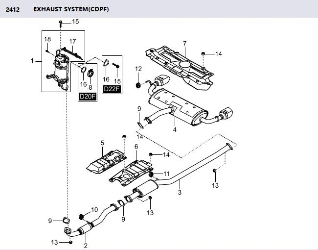 2425034111 Clamp CDPF Exhaust Pipe Korando C Catalytzed Diesel Particulate Filter Clamp